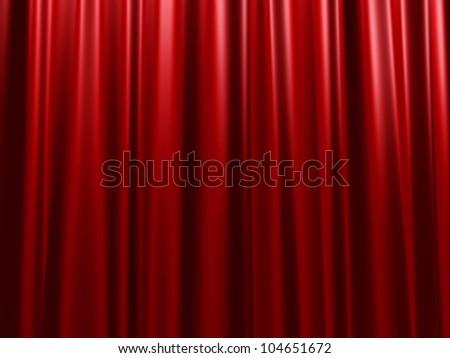 Red velvet curtain - stock photo