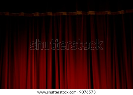 Red velvet curtains of the theatre stage - stock photo