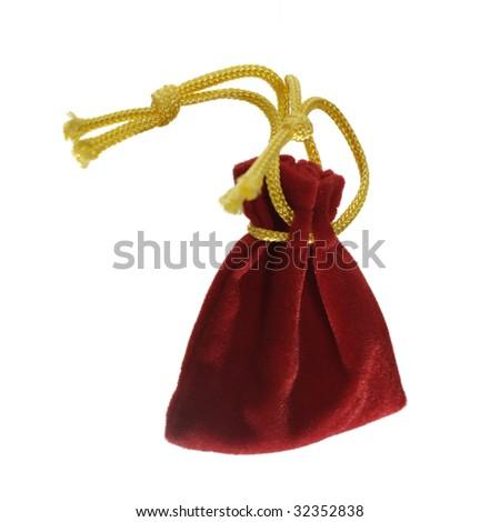 Red velvet soft sachet pouch. - stock photo