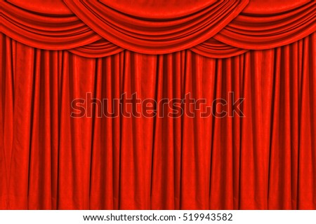 Red velvet stage curtain for background.