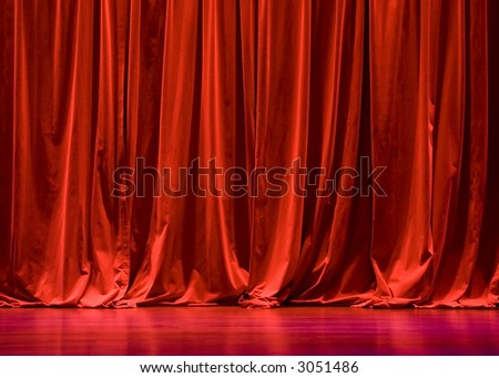 Red Velvet Stage Curtains with Stage Floor - stock photo