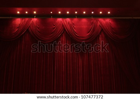red velvet stage theater - stock photo