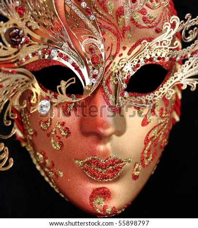 Red venice mask - stock photo