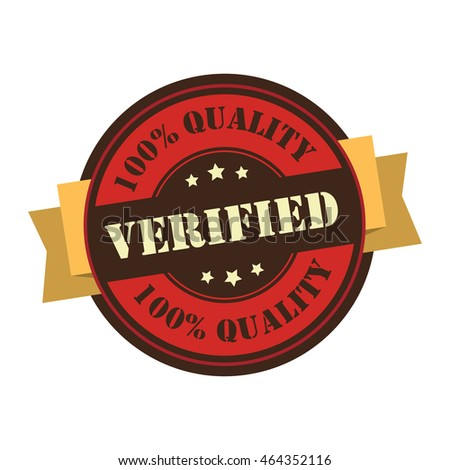 Red Verified 100% Quality Product Information Infographics Icon or Label Isolated on White Background