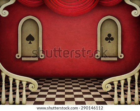 Red vintage background with architectural elements - stock photo