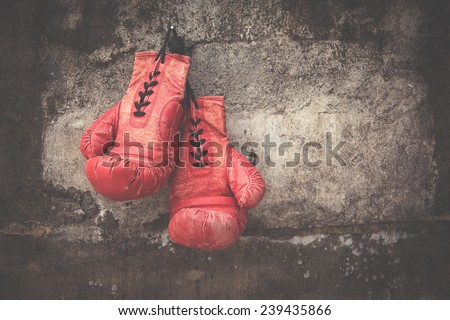 red vintage boxing glove - stock photo