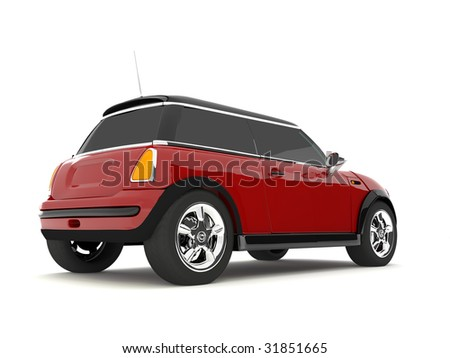 red vintage car - stock photo