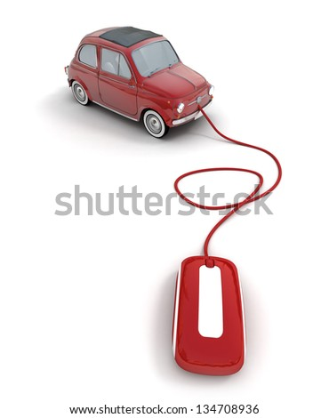 red vintage car connected to a computer mouse - stock photo