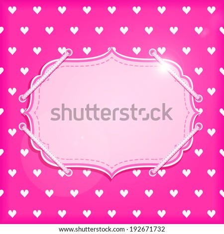 Red Vintage Card with White Hearts and Label Blank Space for Valentine Day - stock photo