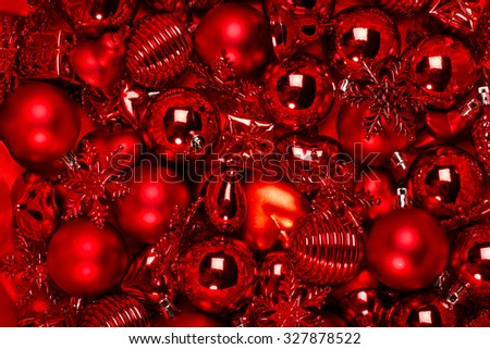 Red vintage christmas ornament background - stock photo