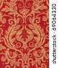 Red vintage fabric with gold decor - stock photo