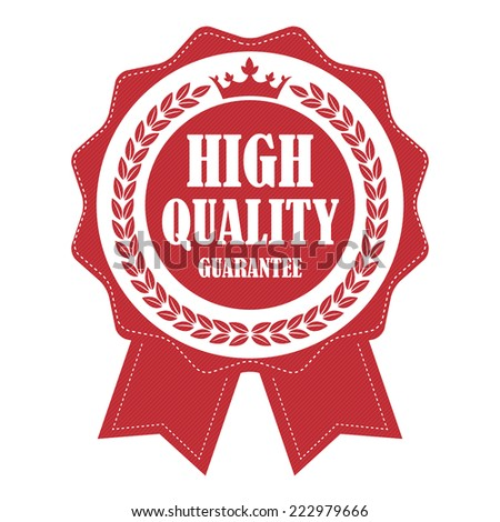 Red Vintage High Quality Guarantee Ribbon, Icon, Label or Sticker Isolated on White Background