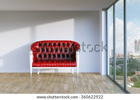 Red vintage leather sofa in modern room with parquet and urban city view. 3d render - stock photo