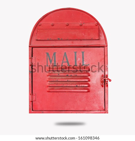 Red vintage mail box  - stock photo