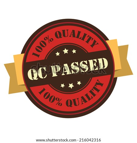 Red Vintage QC Passed 100% Guarantee Icon, Badge, Sticker or Label Isolated on White Background