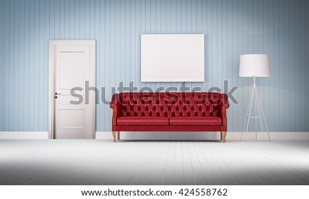 red vintage sofa on the room 3d rendering - stock photo
