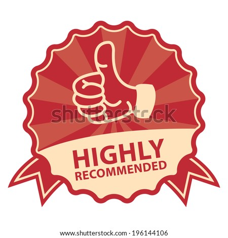 Red Vintage Style Highly Recommended Badge, Icon, Label or Sticker Isolated on White Background - stock photo