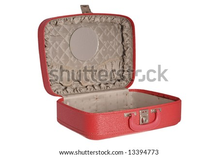 Red vintage suitcase - opened