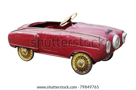 Red vintage toy car isolated on white - stock photo