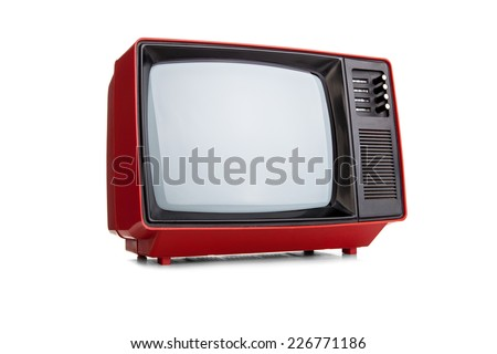 Red vintage tv - stock photo