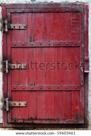 Red vintage wooden window - stock photo