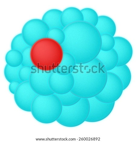 Red virus cell in group other healthy cells on white background, with texture on surface, stem, cholesterol - stock photo