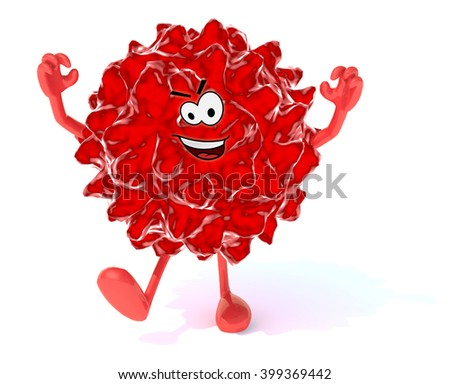 red virus with arms, legs and face, 3d illustration - stock photo