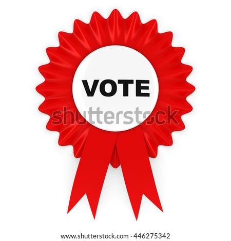 Red Vote Rosette Badge 3D Illustration - stock photo