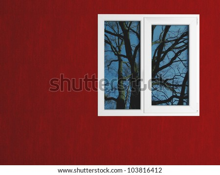 Red wall and white window reflecting the nature. House exterior. - stock photo