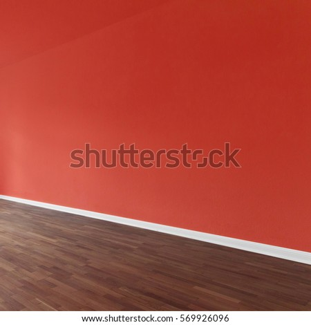 red wall background in apartment interior