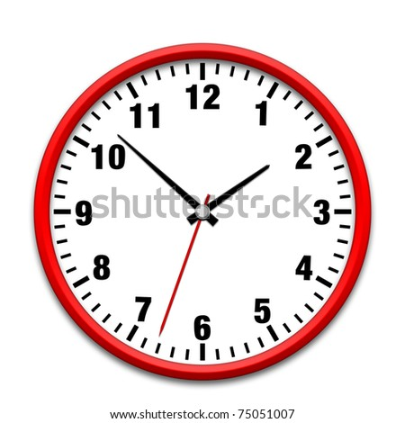 Red wall clock isolated on white - stock photo