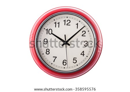 Red wall clock isolated on white background - stock photo
