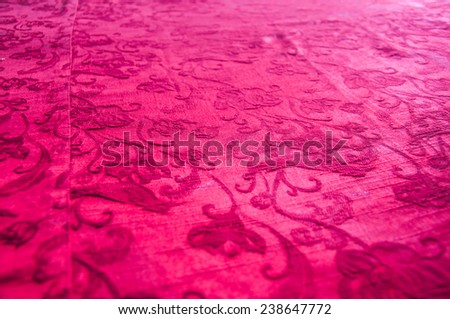 red wall ,texture background flower pattern - stock photo