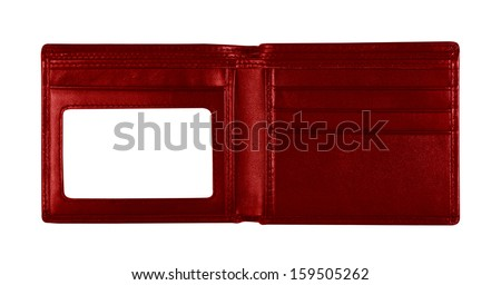 red wallet for put card on white background, included clipping path - stock photo