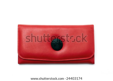 Red wallet on white background - stock photo