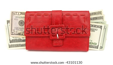 Red wallet with dollars for shopping - stock photo