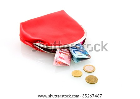 Red wallet with money isolated on white background - stock photo