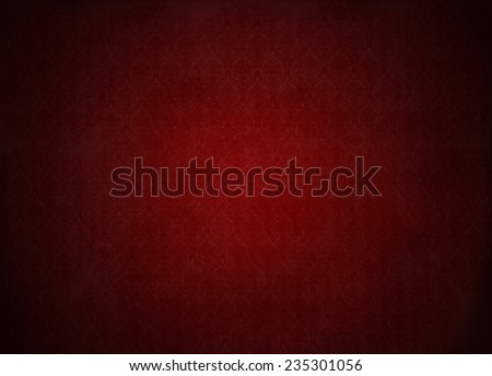 red wallpaper illustration, grunge background with ancient floral texture, vignette - stock photo