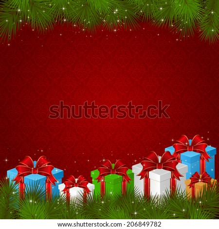 Red wallpaper with gift boxes and branches of Christmas tree, illustration. - stock photo