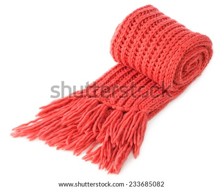 Red warm wool scarf isolated on white background - stock photo