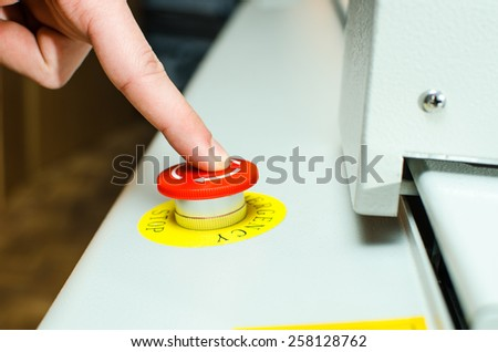 Red warning button - stock photo