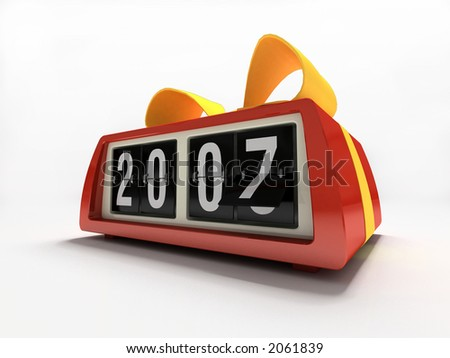 Red watch - counter on white background New year gift - stock photo