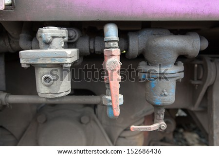 red water valve   - stock photo