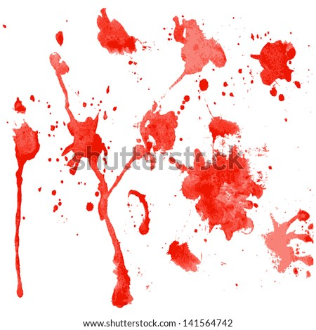 red watercolor blots on a white background (vector version in portfolio)