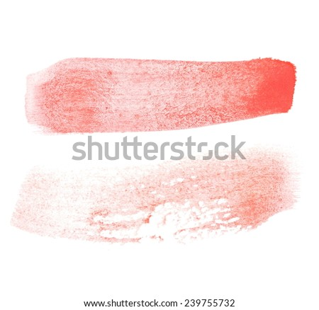 red watercolor brush strokes, photo - stock photo