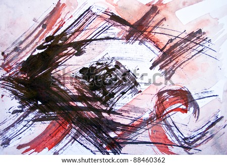 Red watercolor colored background - stock photo