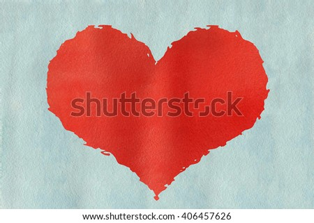 Red watercolor grunge heart on watercolor light blue background.  Red grunge heart on  light blue watercolor background.  - stock photo