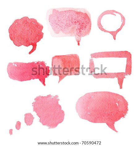 Red watercolor hand drawn speech bubbles. Creative talk symbol. - stock photo
