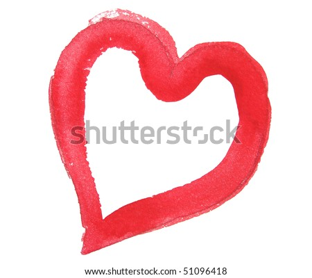 red watercolor heart design background - stock photo