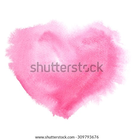 Red watercolor heart isolated on the white background - stock photo